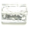 Glass Lamp Bead 18x14mm Rectangle Silver